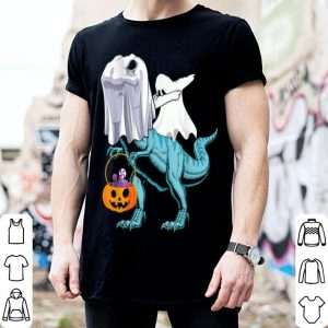 Awesome Boy Kids Dabbing Ghost Riding T-rex Dinosaur Halloween shirt