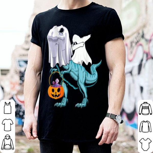 Awesome Boy Kids Dabbing Ghost Riding T-rex Dinosaur Halloween shirt