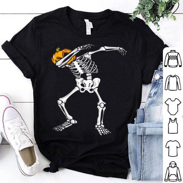 Awesome Dabbing Skeleton Pumpkin Halloween Dab Boys Kids shirt