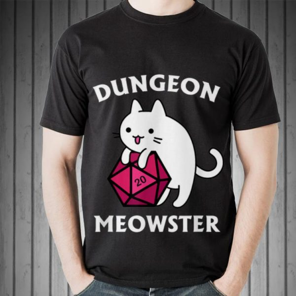Awesome Dungeon Meowster DnD Gamer Cat D20 shirt