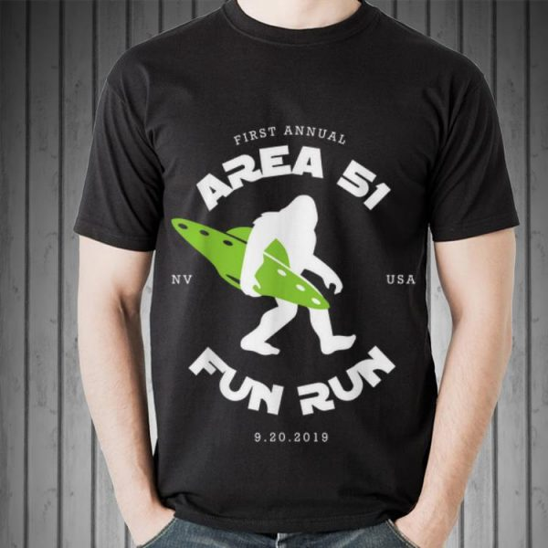 Awesome First Annual Area 51 Fun Run Bigfoot Ufo shirt