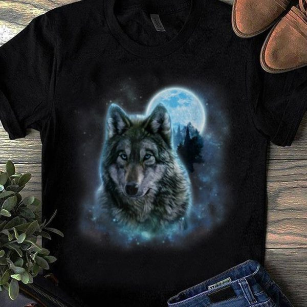 Top Grey Wolf Hunting Ground Icy Moon Forest Galaxy shirt