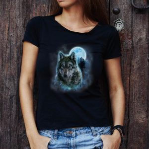 Top Grey Wolf Hunting Ground Icy Moon Forest Galaxy shirt 2