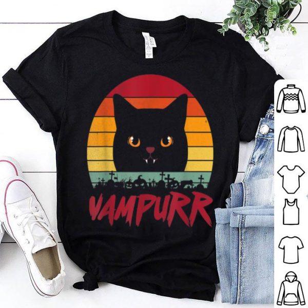 Awesome Black Cat Halloween Vampurr Funny Vampire Cat Vintage Retro shirt
