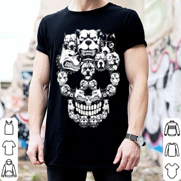 Awesome Pitbull Dog Halloween Skull Costumes Gift shirt