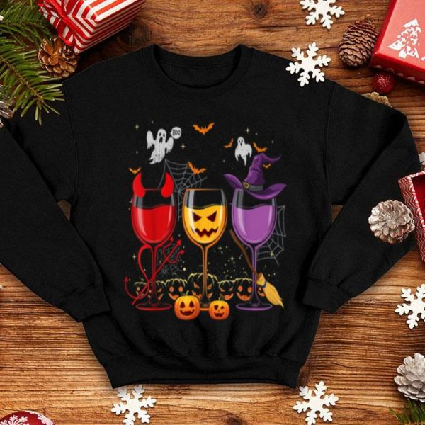Awesome Three Glasses Of Wines Funny Halloween Wine Lover shirt