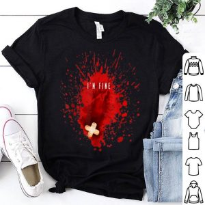 Beautiful Halloween Party I'm Fine Bloody Blood Stain Graphic shirt