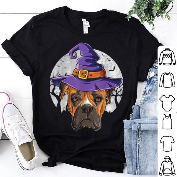 Boxer Witch Hat Funny Halloween Dog Lover Girls Women shirt