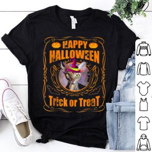 Funny Happy Halloween Sphynx Cat Witch Pumpkin Trick Or Treat shirt