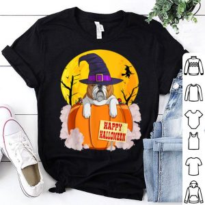 Hot Happy Halloween English Bulldog Pumpkin Witch shirt