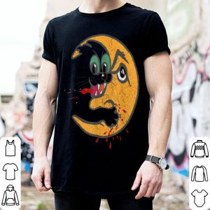 Hot Retro Creepy Cat Bloody Moon Attack Funny Horror shirt