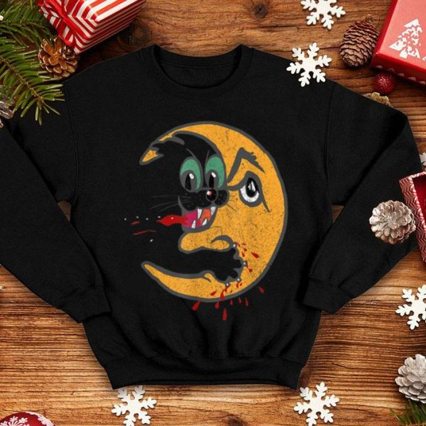 Hot Retro Creepy Cat Bloody Moon Attack Funny Horror shirt
