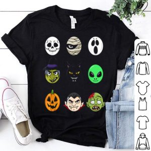 Hot Scary Faces Halloween Emoji Boys Girls Kids Gift shirt