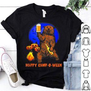 Official Happy Camp-o-ween Funny Pumpkin Bear Moon Halloween Camping shirt