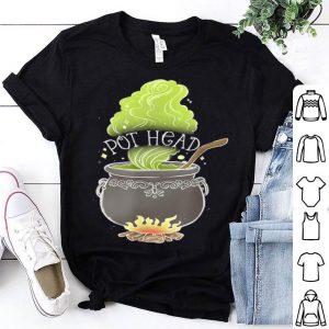 Pot Head Funny Witch Cauldron Adult Halloween Marijuana Weed shirt