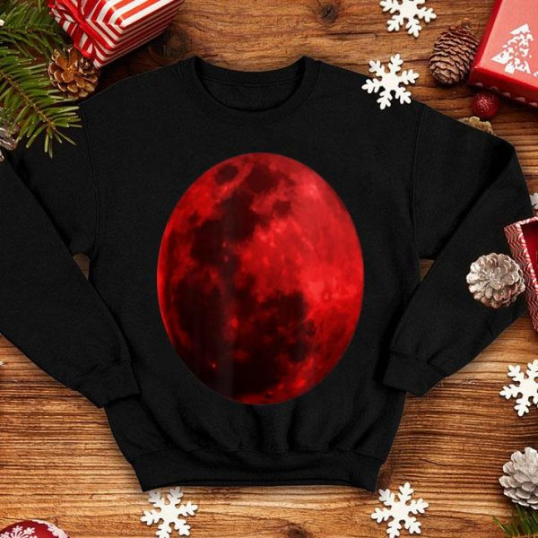 Top Blood Red Moon Graphic Realistic Tee shirt