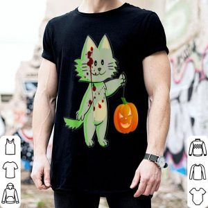 Top Blood Stains On Cat With Pumpkin Scary Halloween Graphic shirt