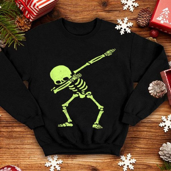 Funny Dabbing Skeleton Dab Hip Hop Skull Dabbin Glow Effect shirt