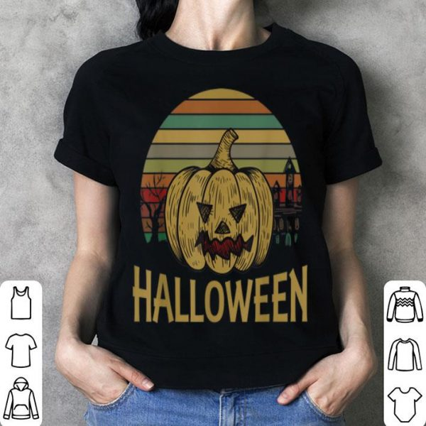 Funny Halloween Pumpkin Vintage with castle, costume Gift shirt