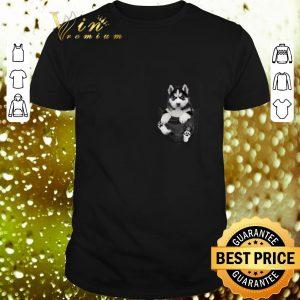 Funny Husky in tiny pocket shirt