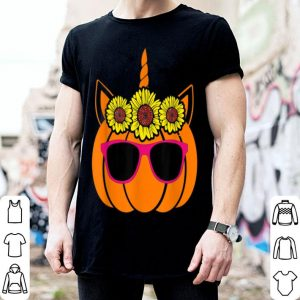Nice Cute Unicorn Pumpkin Sunflower For Woman Who Loves Halloween shirt