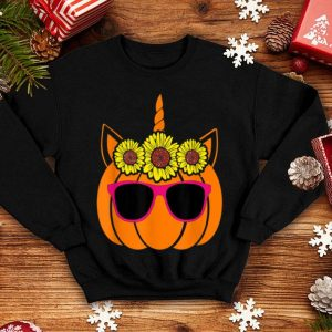 Nice Cute Unicorn Pumpkin Sunflower For Woman Who Loves Halloween shirt