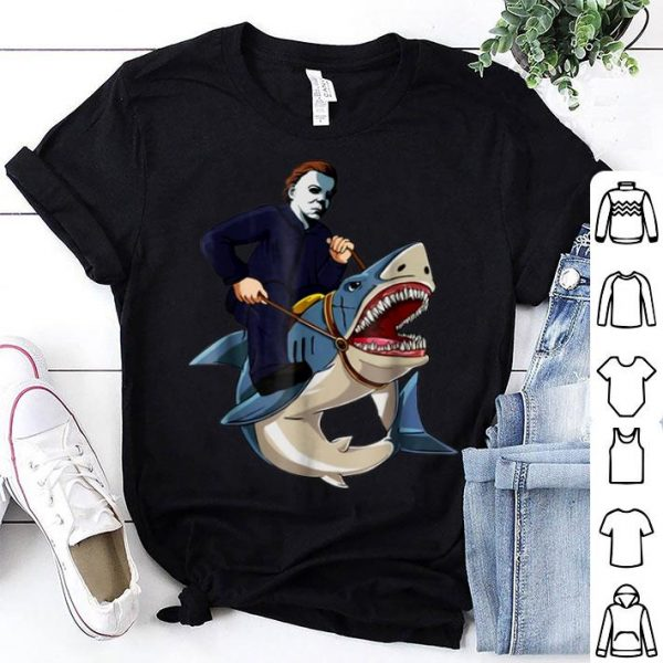 Official Jason Riding Shark Funny Halloween Graphic Costume shirt
