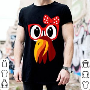 Premium Cute Turkey Face with Glasses & Bow Nerdy Funny Turkey Trot shirt