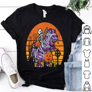 Premium Skeleton Riding Dinosaur Halloween Costume Pumpkin Gift Boy shirt