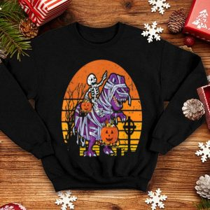 Premium Skeleton Riding Dinosaur Halloween Costume Pumpkin Gift Boy shirt