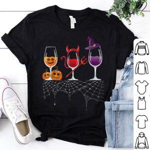 Premium Vintage Halloween Red Wine Glass Pumpkin Devil Witch Cute shirt