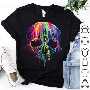 Top Colorful Melting Rainbow Skull Art Graphic Halloween Gift shirt