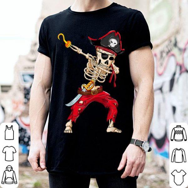 Top Dabbing Skeleton Pirate Halloween Kids Jolly Roger shirt