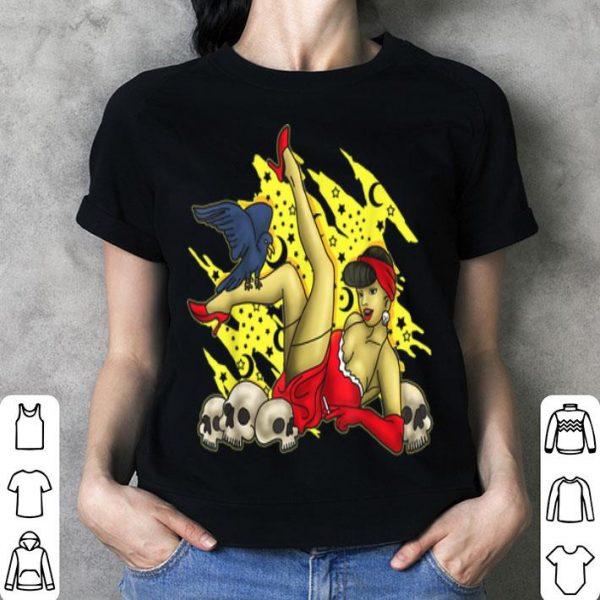 Top Sexy Halloween Pin Up Girl Skull Hot Woman shirt