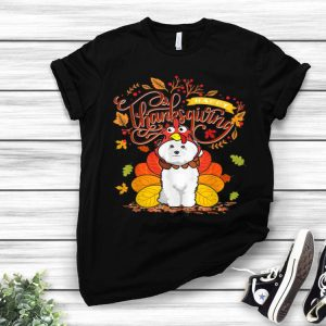 Awesome Bichon Frise Wearing Turkey Hat Fall Autumn Thanksgiving shirt