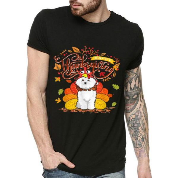 Awesome Bichon Frise Wearing Turkey Hat Fall Autumn Thanksgiving shirt