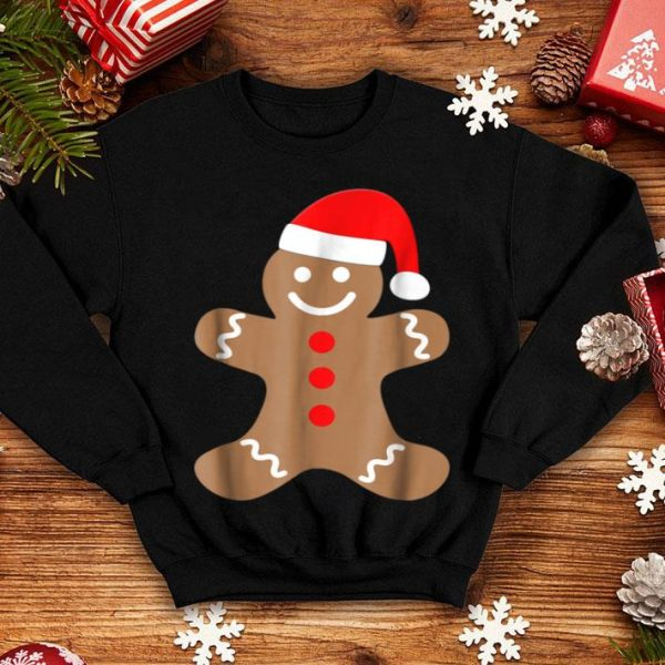 Awesome Gingerbread Man Cookie With Santa Claus Hat Christmas shirt