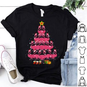 Awesome Santa Flamingo Christmas Tree Gift Pink Women Girl shirt