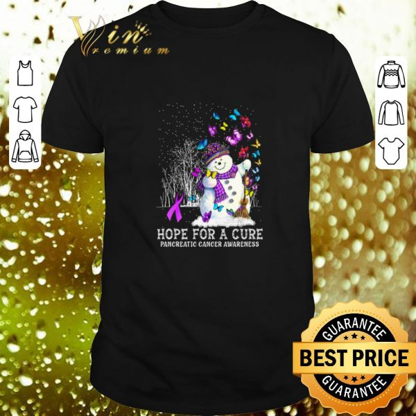 Awesome Snowman Butterfly Hope For A Cure Pancreatic Cancer Awareness shirt