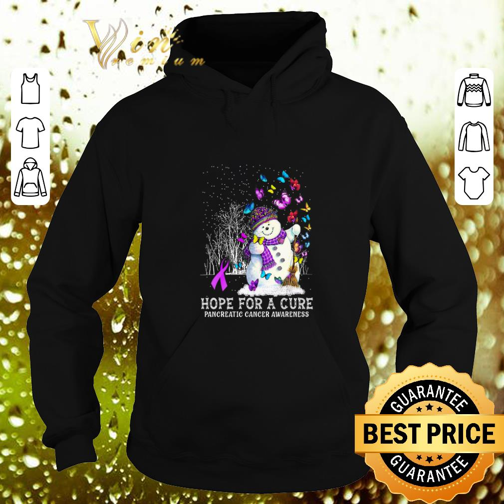 Awesome Snowman Butterfly Hope For A Cure Pancreatic Cancer Awareness shirt 4 - Awesome Snowman Butterfly Hope For A Cure Pancreatic Cancer Awareness shirt