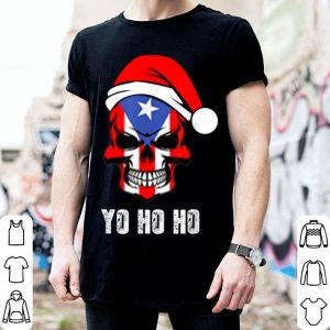 Beautiful Christmas Pirate Puerto Rican Flag Skull Santa Hat Design shirt