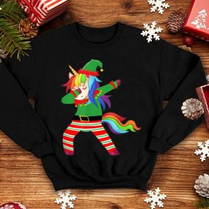 Beautiful Dabbig Unicorn in Elf costume-Funny Unicorn Christmas Pajama shirt