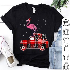 Beautiful Flamingo Riding Red Plaid Truck-Flamingo Christmas Pajama shirt
