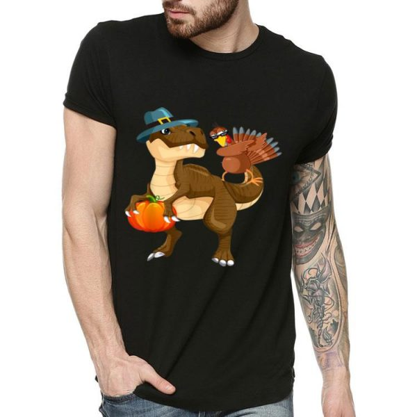 Beautiful Thanksgiving T-Rex Dinosaur - Dabbing Turkey shirt