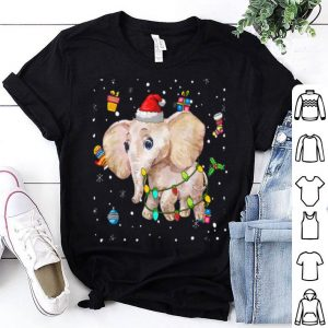 Beautiful elephant Lights with Santa Hat Christmas Pajamas Funny Gifts sweater