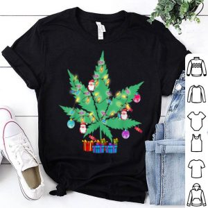 Hot Cannabis Leaf Christmas Tree Funny Xmas Pajama Gift shirt