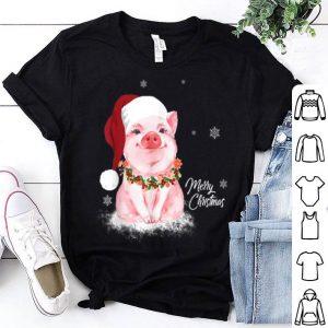 Hot Cute Pig Santa Hat Merry Christmas Pig Lover Gifts shirt