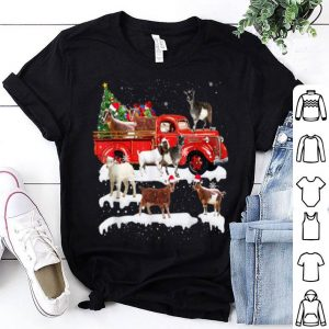 Hot Goat Riding Red Truck Xmas Merry Christmas Gifts shirt