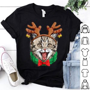 Nice Cat Christmas Reindeer Antlers Catmas Xmas Girls Kids sweater