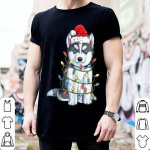 Nice Siberian Husky Christmas Santa Hat Xmas Lights Boys shirt